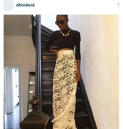 Model, Destiny Owusu wearing Ngozika Okeke