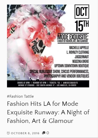 Copy of SS17 Collection featured on HollyWood TattleTale Entertainment Site