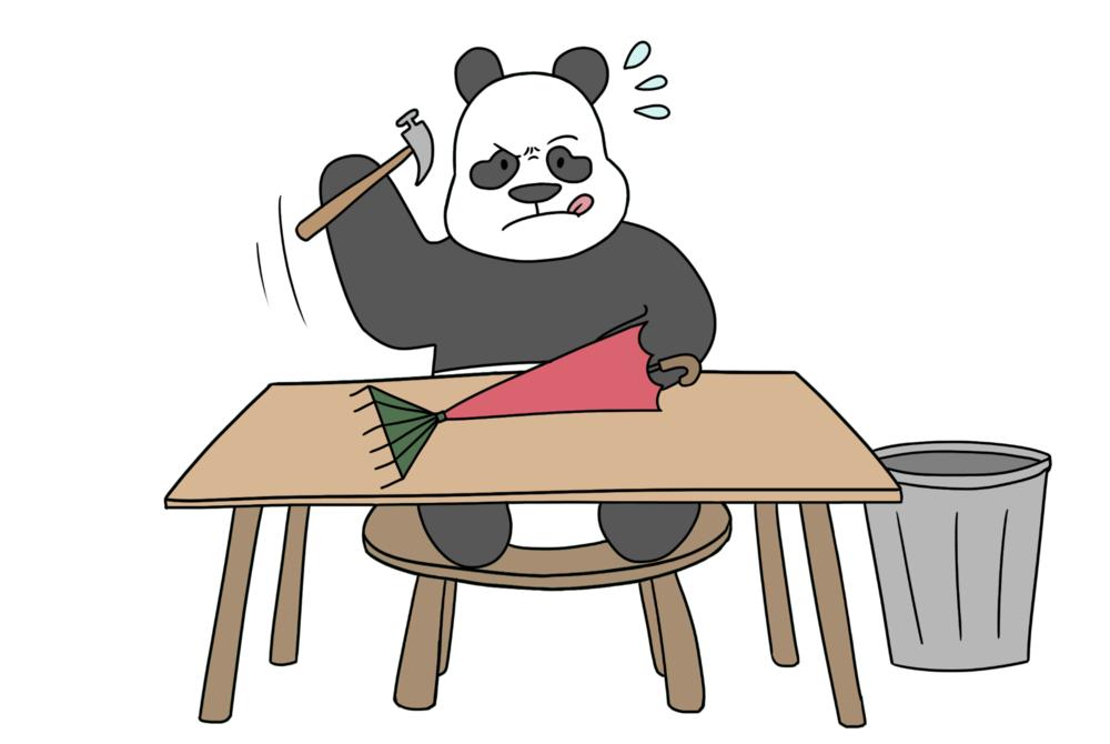 panda making rake umbrella