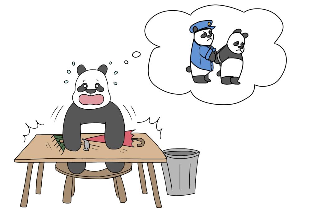 scared panda