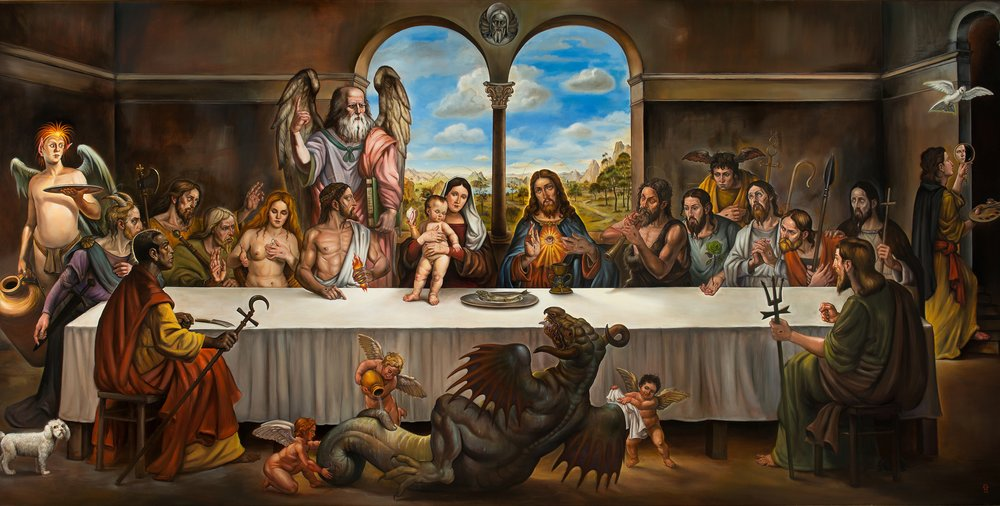 "The Last Supper  Oil on wood 192"" x 96""  in 202"" x 106"" frame   Inquire"