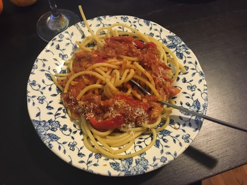 Fresh pasta sauce from the last good tomatoes of the season