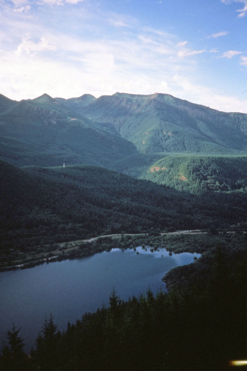 Rattlesnake Lake from the ledge above. Photo taken during the during the historic Mountains to Sound Hike in July, 1990.