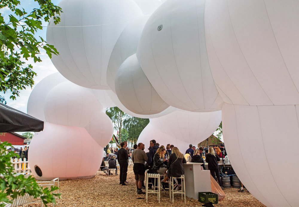 The entrance of the Design+Art festival places the designer's work.