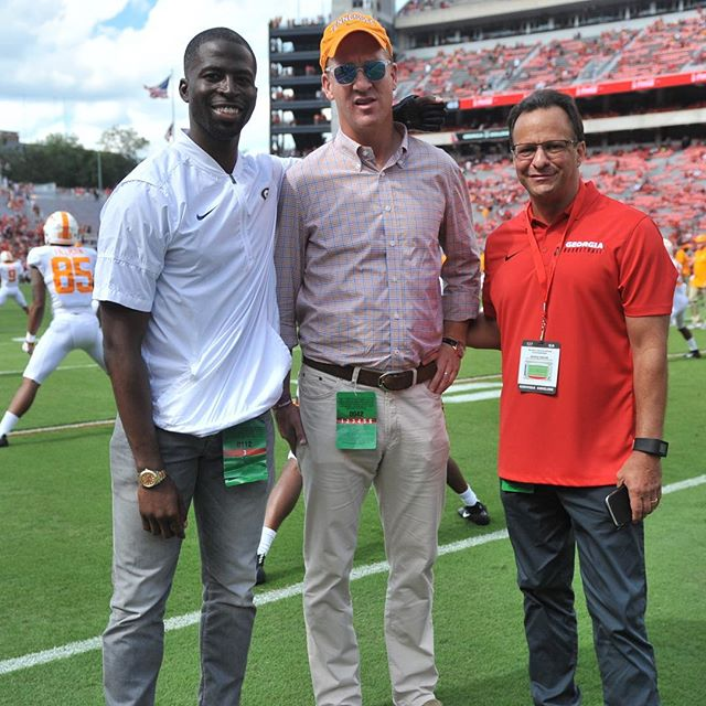 This picture was taken shortly after Peyton Manning asked Coach Crean and I where he could purchase some Georgia gear. #TBT 🤷🏿♂️