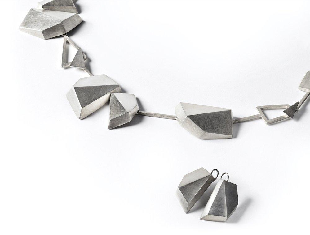 Regine SCHWARZER earrings and necklace, 2012 (detail)