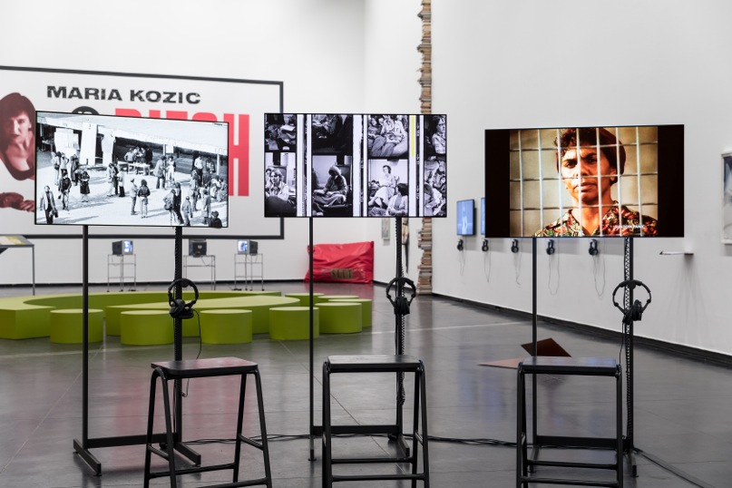 Install view gallery 1 close up: Alex Martinis Roe,  It was about opening the very notion that there was a particular perspective,  2015–17, three-channel video installation, HD video and 16mm film, 33:02 mins (total running time), installation view, Australian Centre for Contemporary Art, Melbourne. Courtesy the artist. Photograph: Andrew Curtis
