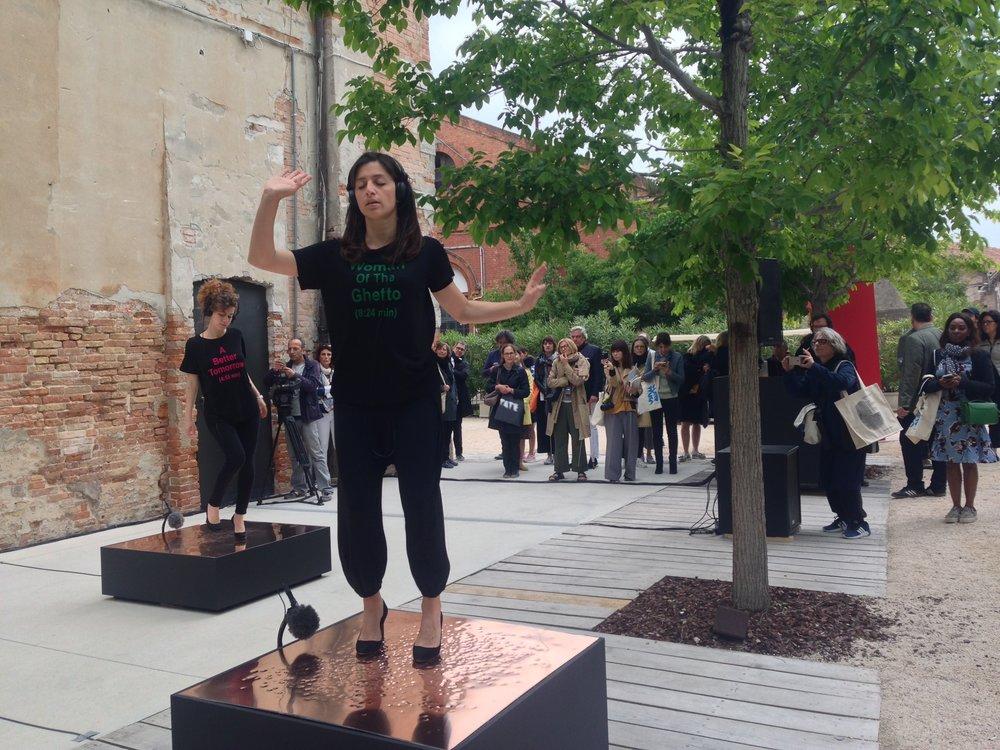 Venice Biennale Vernissage - performance by Turkish artist Nevin Aladag. Photo Julie Ewington