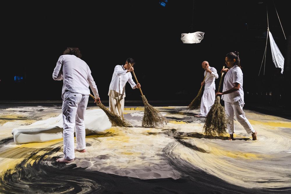 Lee MIngwei's 'Guernica in sand', Biennale of Sydney, 2016. Photograph Julie Ewington