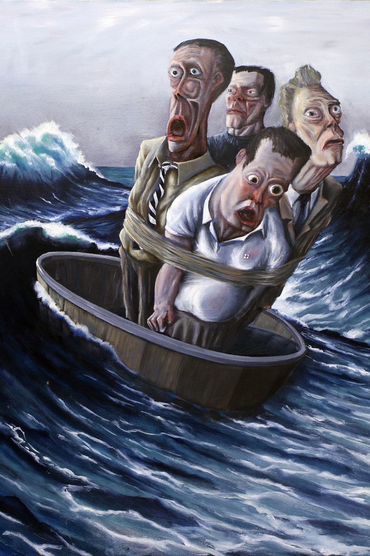 Pulling the Strings - Hugh KerrShip of Fools (2017), Oil on Canvas. 61cm X 77cm