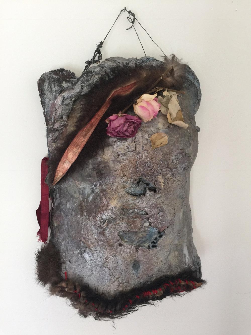 Belong - Sarah Jane MooreShield and Armour (2016), human hair, possum tails, roses, ribbon and resin body cast