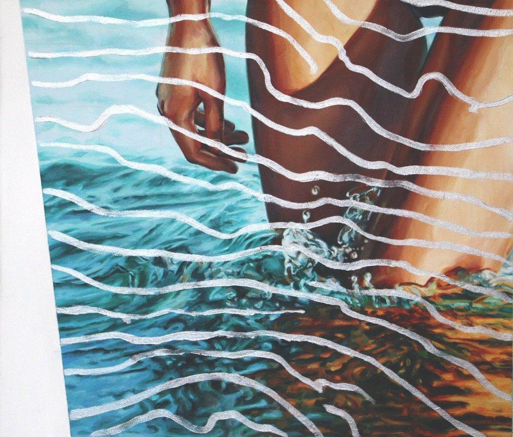 Poolside - Monique Barnett  Knee deep (2017), Oil on Aluminium Composite 30.5 cm x 30 cm.