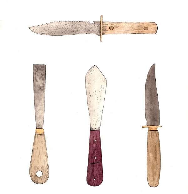 New Tools   - Leigh Rigozzi (TAS)Image: Knives (2015), ink and watercolour on paper, 33 x 34cm.Courtesy of the artist.