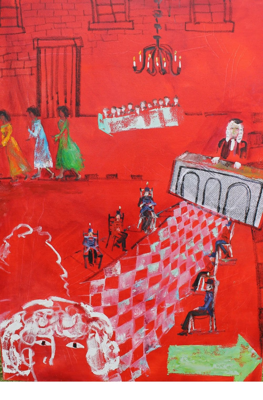 Far From Country: Truginini Tunnerminnerwait Maulboyheenner   - Pamela Horsley (TAS)Image: The First Execution (triptych detail) (2012), media, oil, and collaged paper on canvas.Courtesy of the artist.