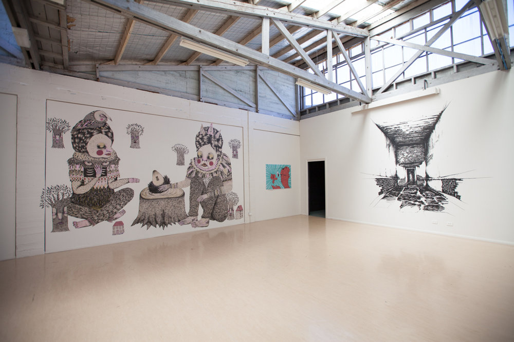 Off The Wall - Street Art Exhibition  - Finalists: Anopsy (NETHERLANDS), Ashleynicholls (VIC), Brain Foetus (TAS), Bromunkey (CANADA), D.A.P. (ITALY), GCMA (TAS), Jean Laine (FRANCE), Jesse Olwen (CANADA), Louise Thrush (TAS) and Nokay (SINGAPORE/HONG KONG)