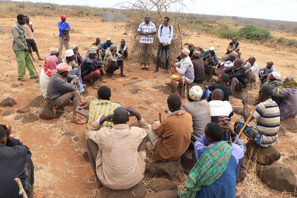 Patrick Ekodere addresses the Jaldesa community. Photo: Duncan Ndotono, NRT.
