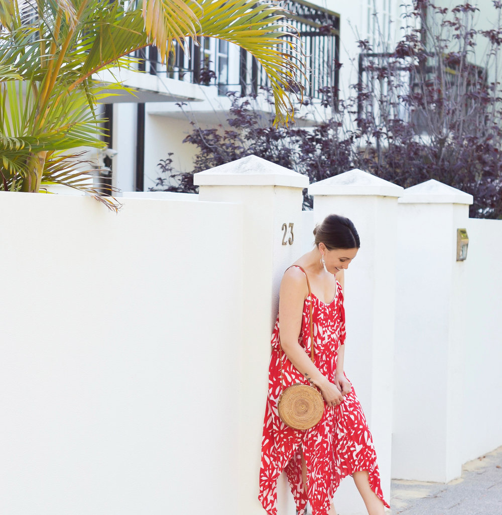 Dilemmas Maxi Dress |  Summer Nights Rattan Bag |  Daisy Earrings from Ilyas Honey Jewellery |  Dakota Heels