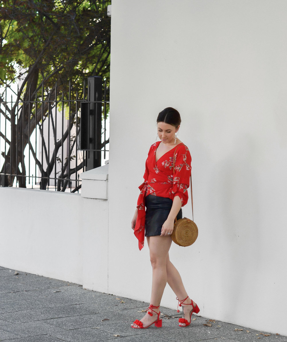 Summer Nights Rattan Bag |  Beyond Skirt |  Adeline Wrap Top |  Daisy Earrings from Ilyas Honey Jewellery | Shoes from Myer (Last year)
