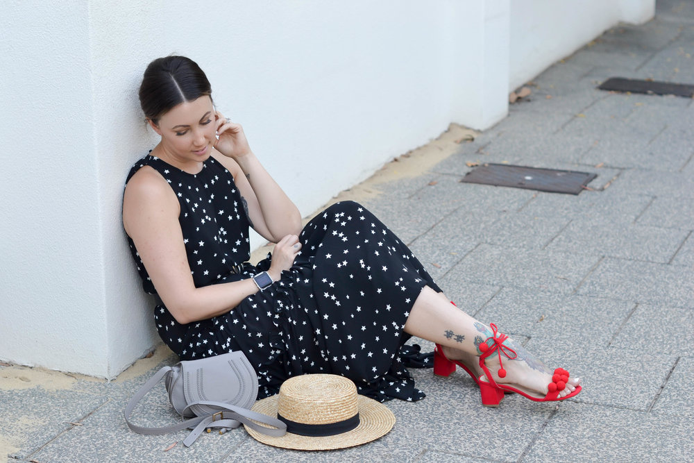 Frontier Star Long Dress | Shoes from Myer (Last year) |  Gucci Double G Belt | Chloe Marcie Bag from  Matches Fashion  |  Lack of Color Boater