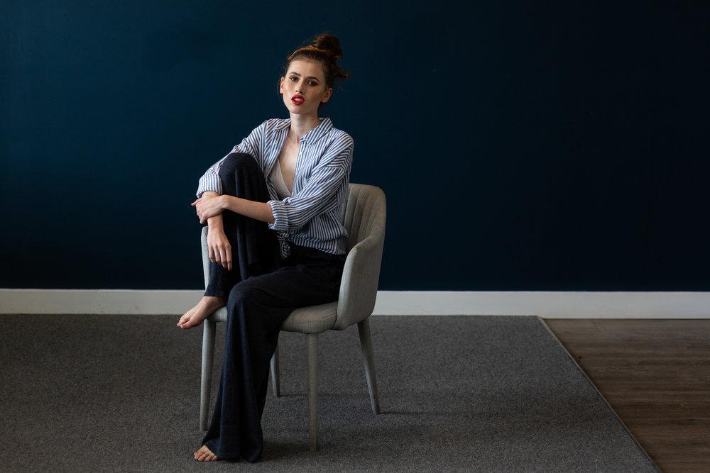 Desiree wears:  Kara Knit Pant  &  Sager Oversized Shirt .
