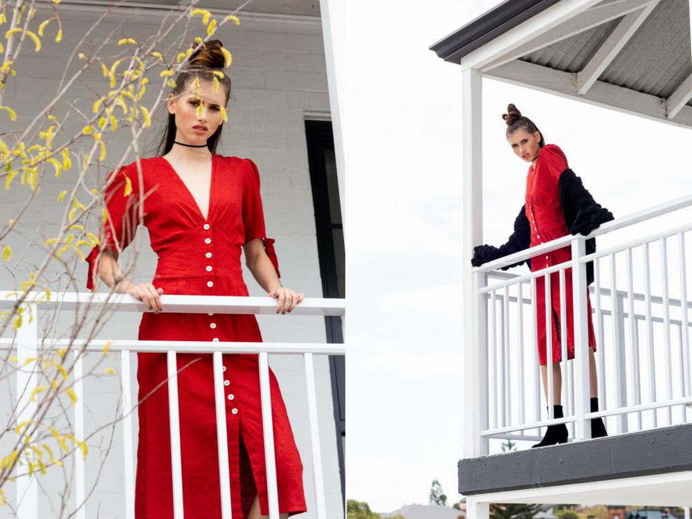 Desiree wears:  Cherie Dress ,  Lola Neck Tie Choker ,  Tomorrow Chunky Knit  & Demi Suede Boots .