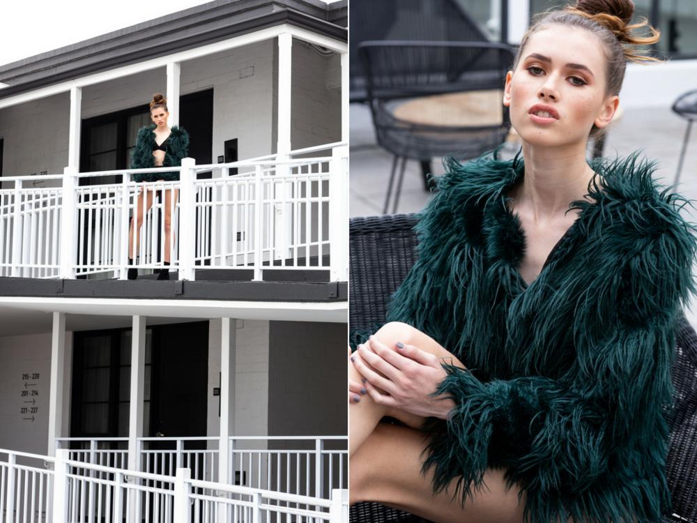 Desiree wears: Emerald City Faux Fur.