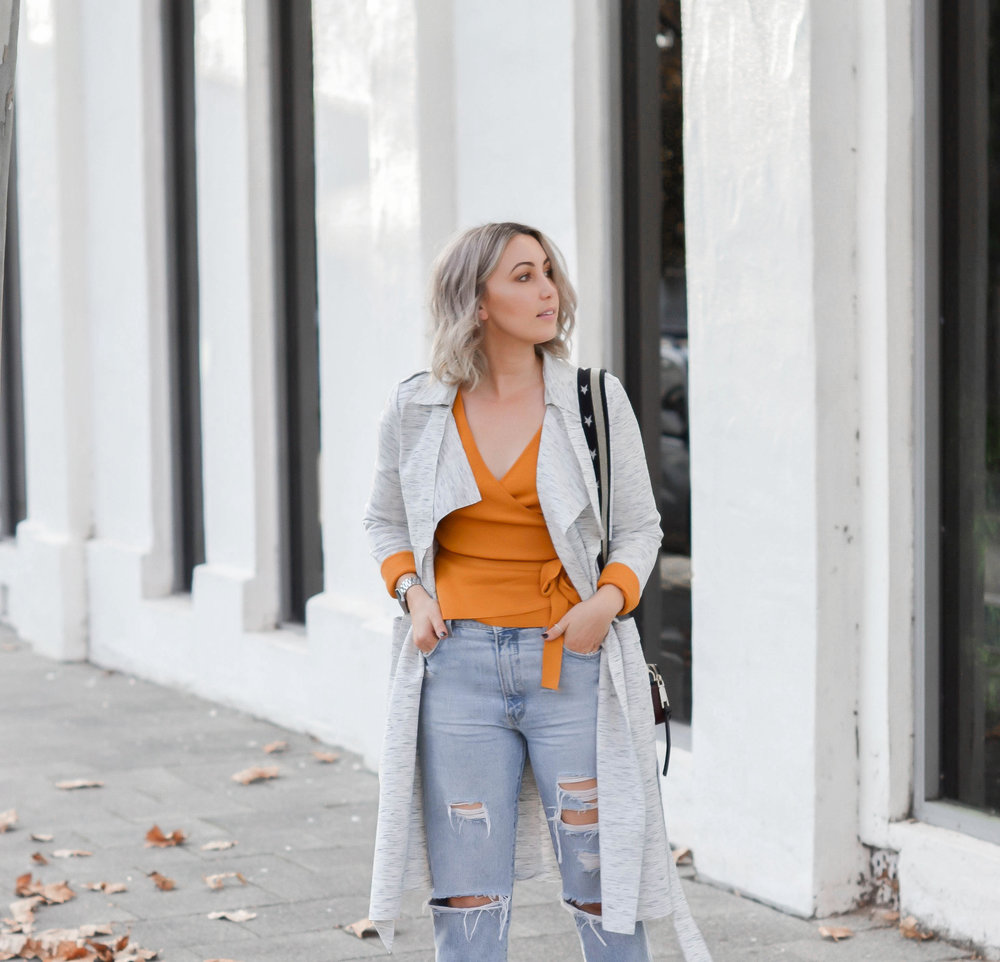 Pictured:  After Sunset Wrap Top  & Rollas  Original Straight Jeans  from  Lock & Key Clothing ,  Luxe Soft Trench  from  Decjuba  and  Hunter Slide  by  Rochessa .