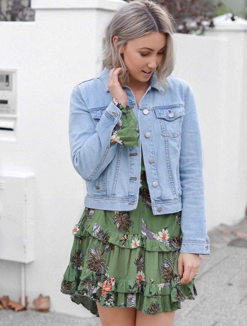 Pictured:  Garden Party Dress  from  Lock & Key Clothing  &  Classic Denim Jacket  from  Sportsgirl .