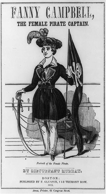 Fanny Campbell, the Female Pirate Captain: A Tale of the Revolution   was published in 1844 American by Maturin Murray Ballou. It's about a woman who goes to sea to rescue her fiancé and, delightfully, becomes commander of a pirate ship and free-wheeling lady of pleasure. This heroine continued to be popular long after the book was published, especially in Emma's imagination.  Wikicommons .
