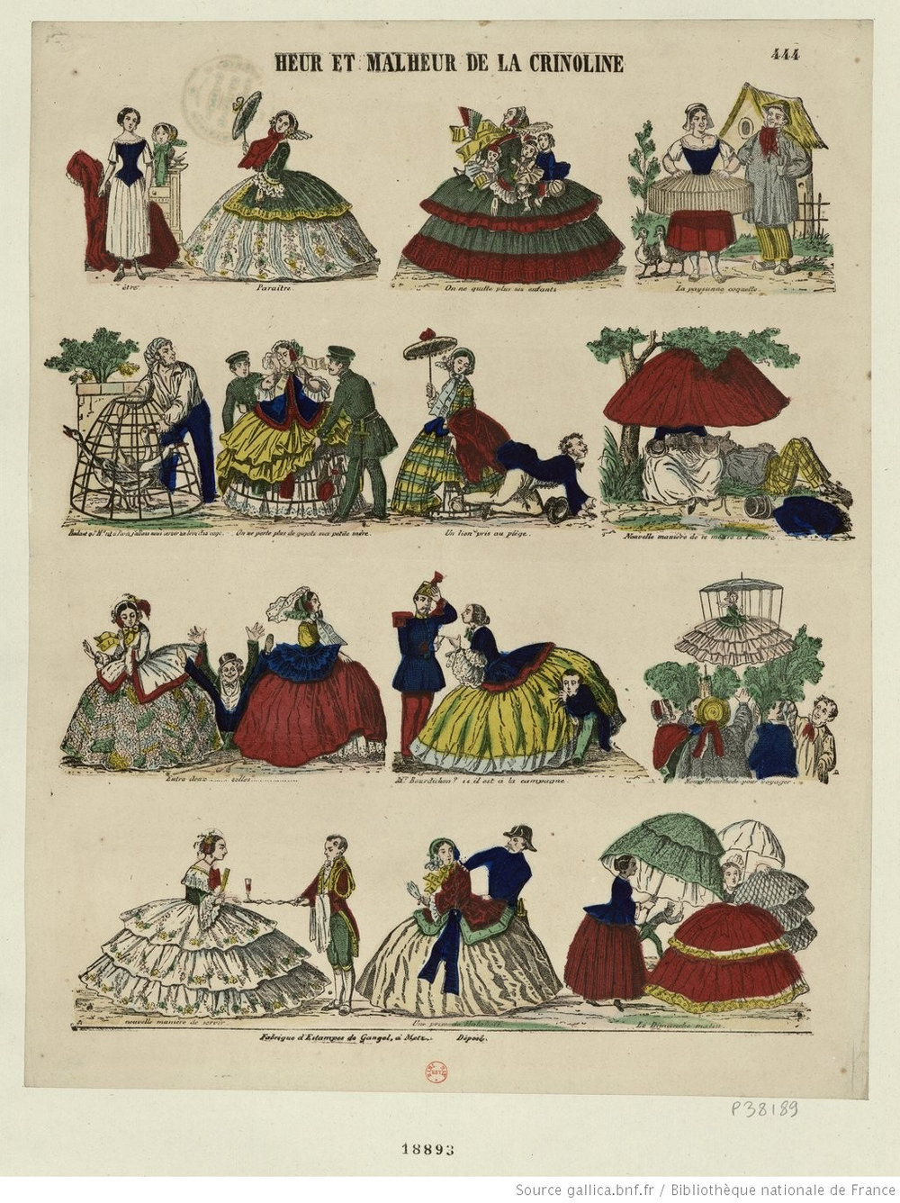 A fine French illustration of all the things one can do with a crinoline cage. Man hiding! Goose keeping! This is an example of one of the MANY satirical cartoons and illustrations this enormous mid 19th-century fashion staple inspired.   Bibliothèque nationale de France, département Estampes et photographie, RESERVE FT 4-QB-370 (157).