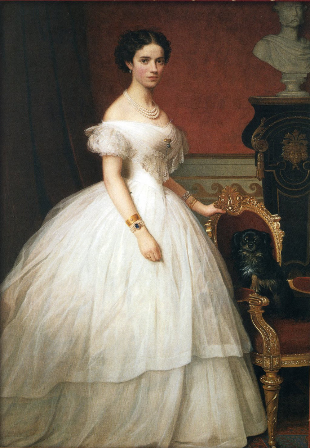 Our girl Dagmar of Denmark is modeling a beautiful example of mid 19th-century fashion - an extreme hourglass shape created by a corset, a bell-shaped crinoline, and a few layers of skirt - which permeated life on both sides of the Atlantic. These skirts reached their ultimate hugeness around this time, in the 1860s. PS: the fact that she's wearing all white is a symbol of her social fineness. Most women didn't wear this much white because, in an era where everything was still mostly hand washed, it was just too much of a pain of keep nice looking.   Portrait  of  Princess Dagmar of Denmark with her Dog,   by A. Hunæus. (Wikicommons)