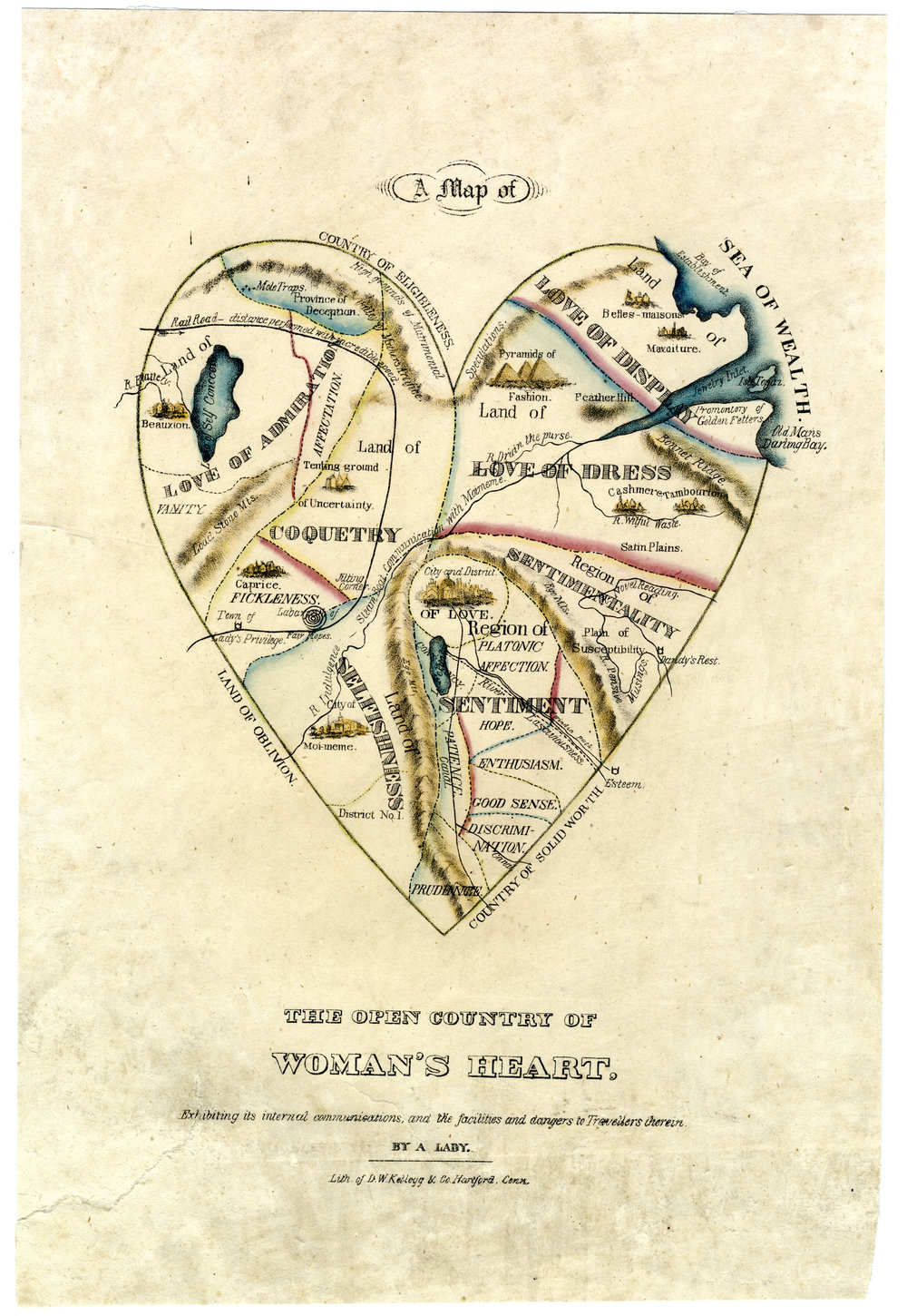 This heart-shaped map says it was created By A Lady, but let's be honest: this looks like a man's idea of what a woman's heart contains. Note how the lands of Selfishness and Coquetry are quite expansive, while Good Sense and Discrimination are smaller than a postage stamp. Where are the principalities of Love of Math Problems and Assertiveness, you ask? They don't seem to have made the cut…   D.W. Kellogg & Co. in Hartford between 1833 and 1842. Courtesy, The American Antiquarian Society.