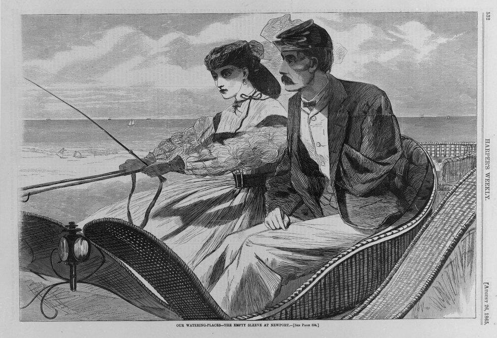 "This image accompanied a story in  Harper's Weekly  in which a captain returns home from war to find that his wife has learned to drive a horse and buggy. That's probably for the best, given that he's now missing an arm - a common sight after the Civil War. But as you can see, neither of them looks happy. Maybe that's because this husband struggles with his wife's newfound independence. Or maybe it's because her corset is cinched much too tight.   ""Our Watering Places--The Empty Sleeve at Newport,"" 1865 by Winslow Homer (American, 1836-1910). Wood engraving. Courtesy of Brooklyn Museum, Gift of Harvey Isbitts."