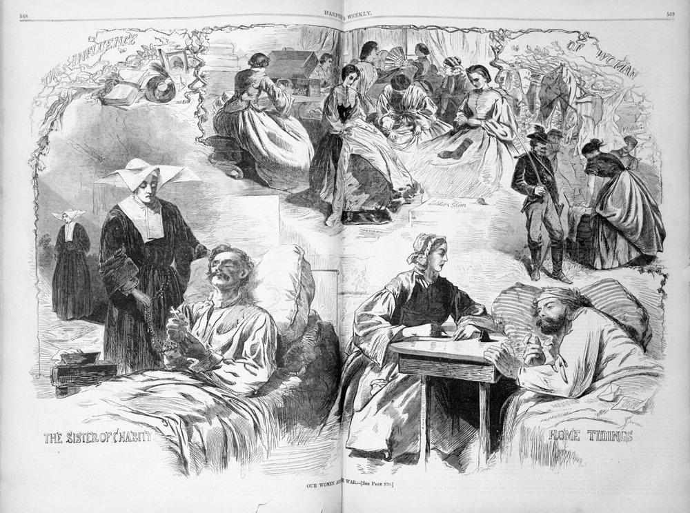 Here we see scenes in Harper's Bazaar of the many ways in which women served during the Civil War: knitting socks, tending to the wounded, and supporting them as they navigated a violent world far from home. Not pictured: lady nurses tending to weeping sores, giving enemas or choking on the collective stink.