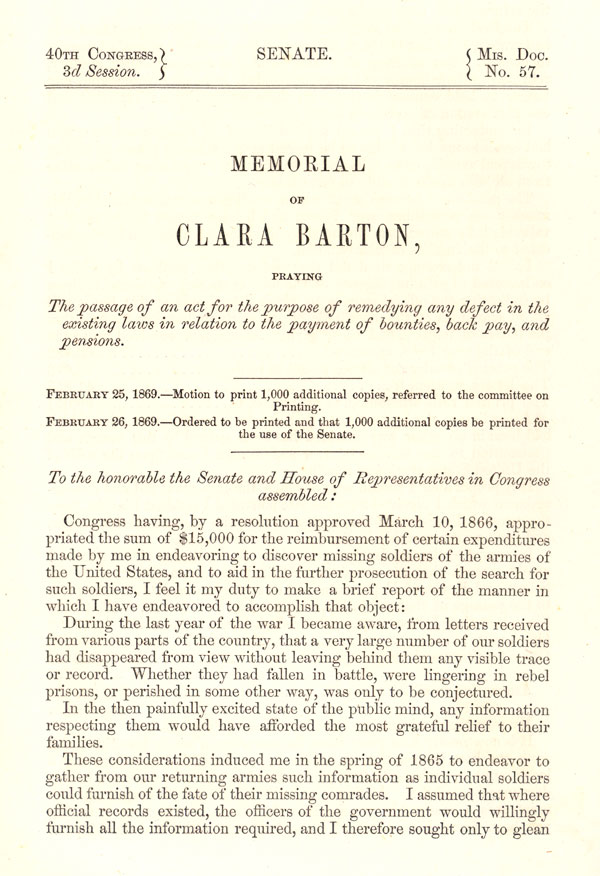 In this document, Clara finally gets the money she so desperately deserves for all the work she did locating missing soldiers.   Courtesy of the Library of Congress.