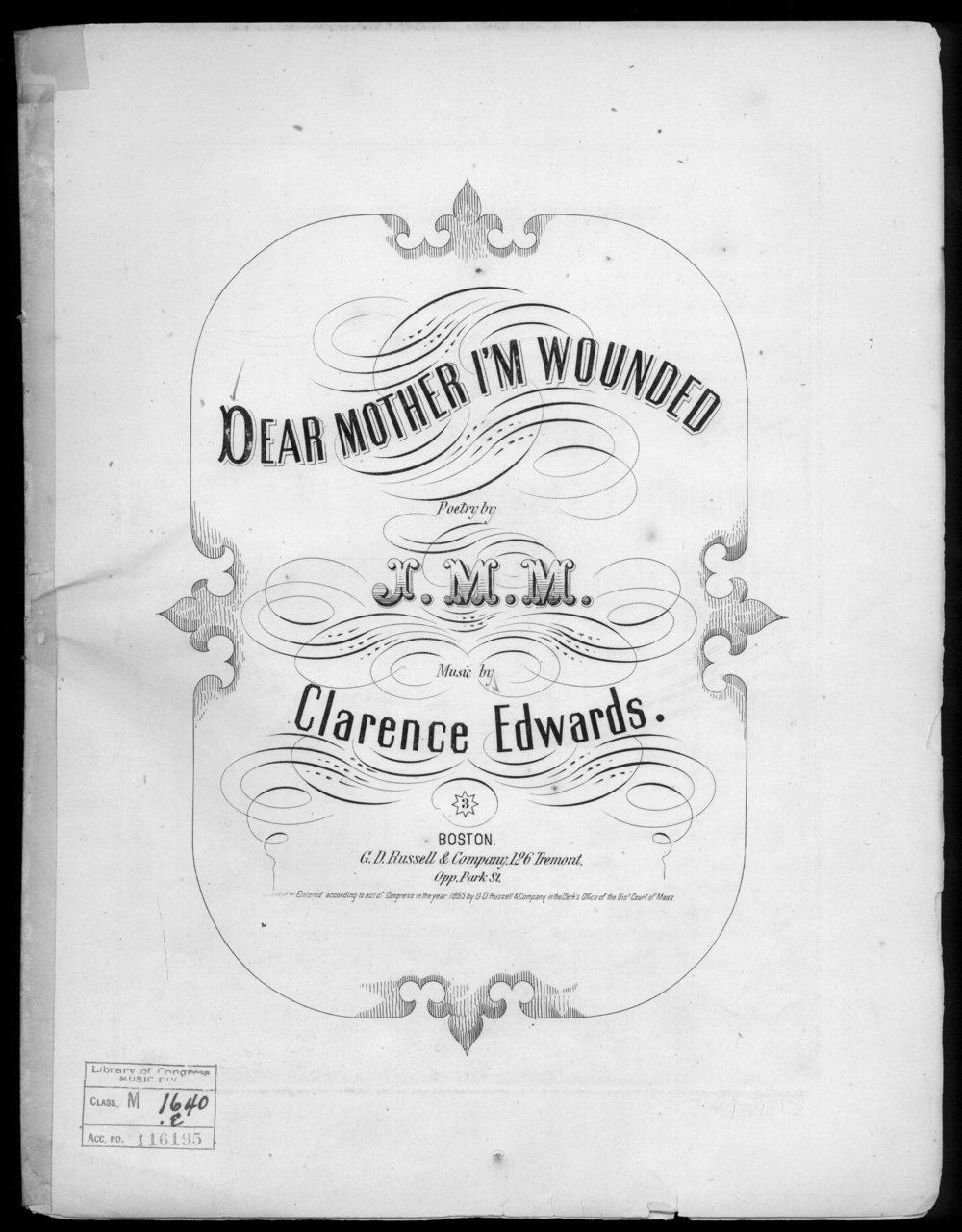 The war gave composers much to work with in the realm of churning out sad, patriotic music about the soldier's life, including their longing for the women in their lives while far from home.   Edwards, Clarence (composer); M., J. M. (lyricist). Published by G. D. Russell & Company, Boston, 1865. Courtesy of the Library of Congress.