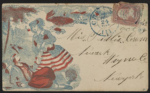 Envelopes were still a pretty new thing when the war rolled around, and many Civil War-themed envelopes popped to meet demand for them. This one features a woman pouring a drink for a wounded soldier as a battle rages - thought not always a common sight, one that people liked a lot.   October 1862. Courtesy of the Library of Congress.
