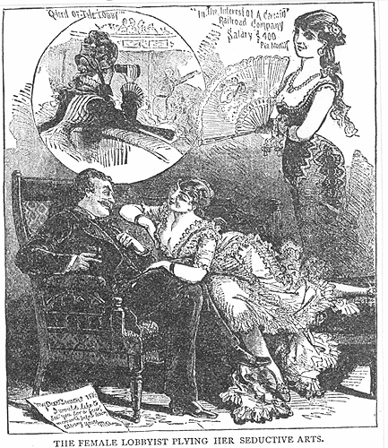 "This cartoon, called The Female Lobbyist, pokes fun at the idea of a woman influencing policy, but there were serious concerns that powerful prostitutes did indeed hold sway. One expose that would come out years after the war certainly claimed the power some prostitutes had in Washington. As they hung over the Senate balcony, it said, ""they become objects of unctuous admiration, displaying to excellent advantage their gorgeous apparel with half revealing monuments of maternity peeping over brilliant bodices, and arms dressed in rouge the helps nature amazingly.""   Credit: Case Western University"