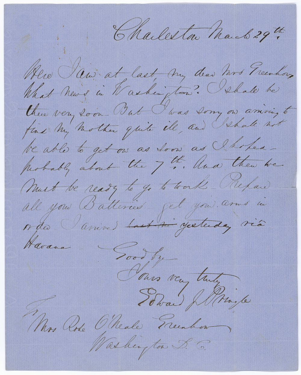 Here's one of the MANY letter that Rose got from men saying they'd be over to see her shortly…and were VERY MUCH looking forward to it.   Courtesy of The Library of Congress