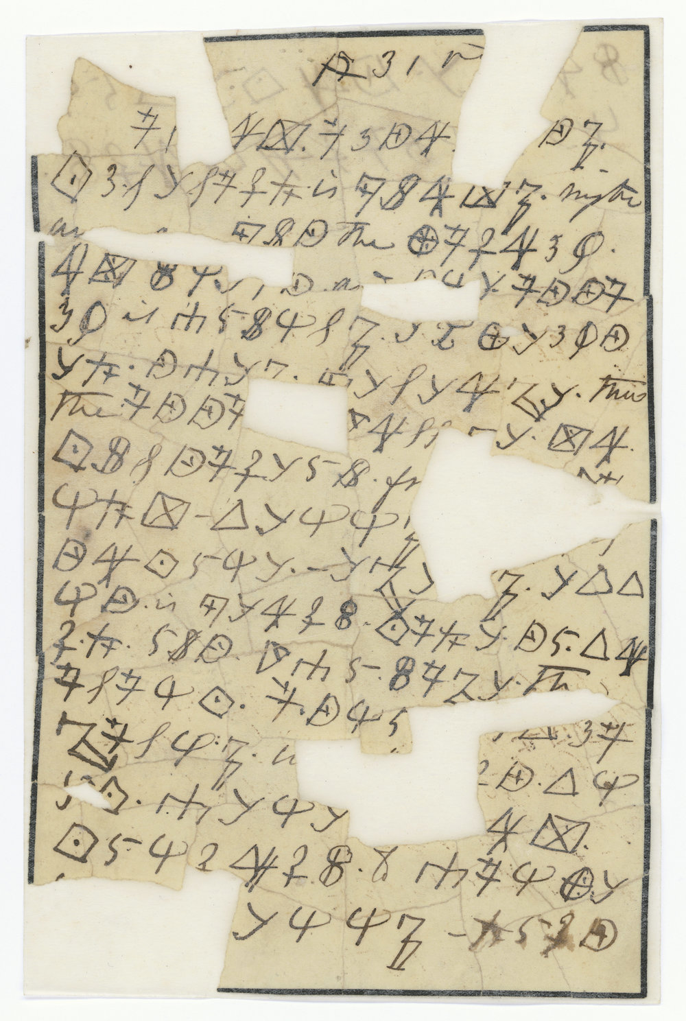 This is one of Rose's coded letters, filled with symbols only she and those with her special cipher could read.    Courtesy of the National Archives and Records Administration