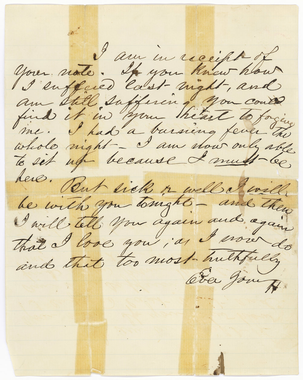 This is one of Henry W's love letters to Rose, though mostly he just talks about how much he's suffering: both for missing Rose, and of some kind of constant intestinal problem. Cute.   Courtesy of the National Archives and Records Administration