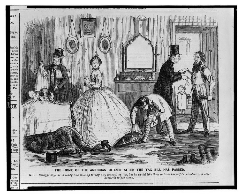 How rude! But it turns out that men had good reason to search under a woman's skirt. Not that they did very often, which is how many a lady spy smuggled contraband. - Courtesy of the Library of Congress.