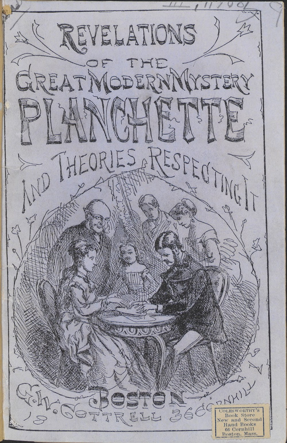 You don't need to go out to see a professional medium: you can get a planchette and get your house haunted in no time!  From  Revelations of the great modern mystery, planchette, and theories respecting it . Boston: G.W. Cottrell, 1868.  Courtesy of H a rvard University Library.