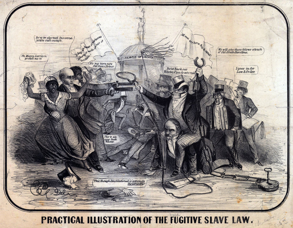 The Fugitive Slave Law of 1850 seriously endangered African Americans, enslaved and legally free…and it lit a fire under Northerners that pushed the abolition movement to all new heights.   Courtesy of the American Antiquarian Society .