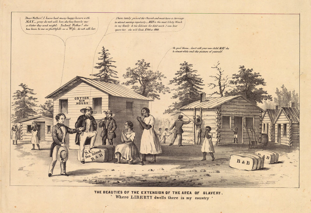 "The issue of whether or not to admit new states as ""slave"" or ""free"" caused quite a stir in America, and increased tensions between North and South. In Kansas, it erupted into fights infamously known as ""Bloody Kansas.""   Courtesy of the American Antiquarian Society"
