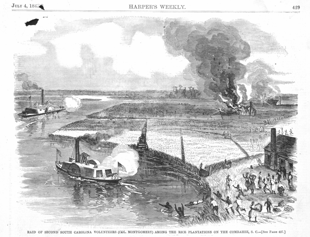 A July 4, 1863 illustration from Harper's Weekly of the Combahee River Raid. You can't see Harriet, but she's there alright.