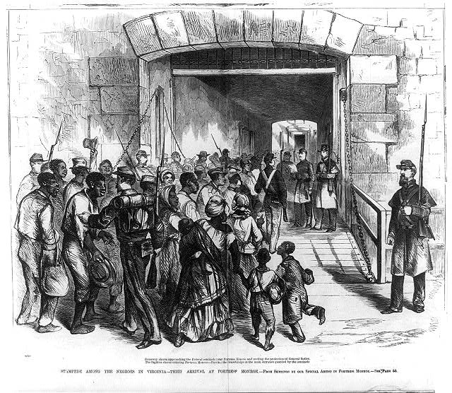 Things weren't easy for escaping slaves during the Civil War, even when they found their way into Union hands. Here is an illustration of contrabands at Fort Monroe, where Harriet Tubman tried to help them. - Courtesy of the Library of Congress.