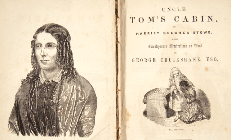 Harriet Beecher Stowe on the frontispiece of her masterpiece (Archive.org)