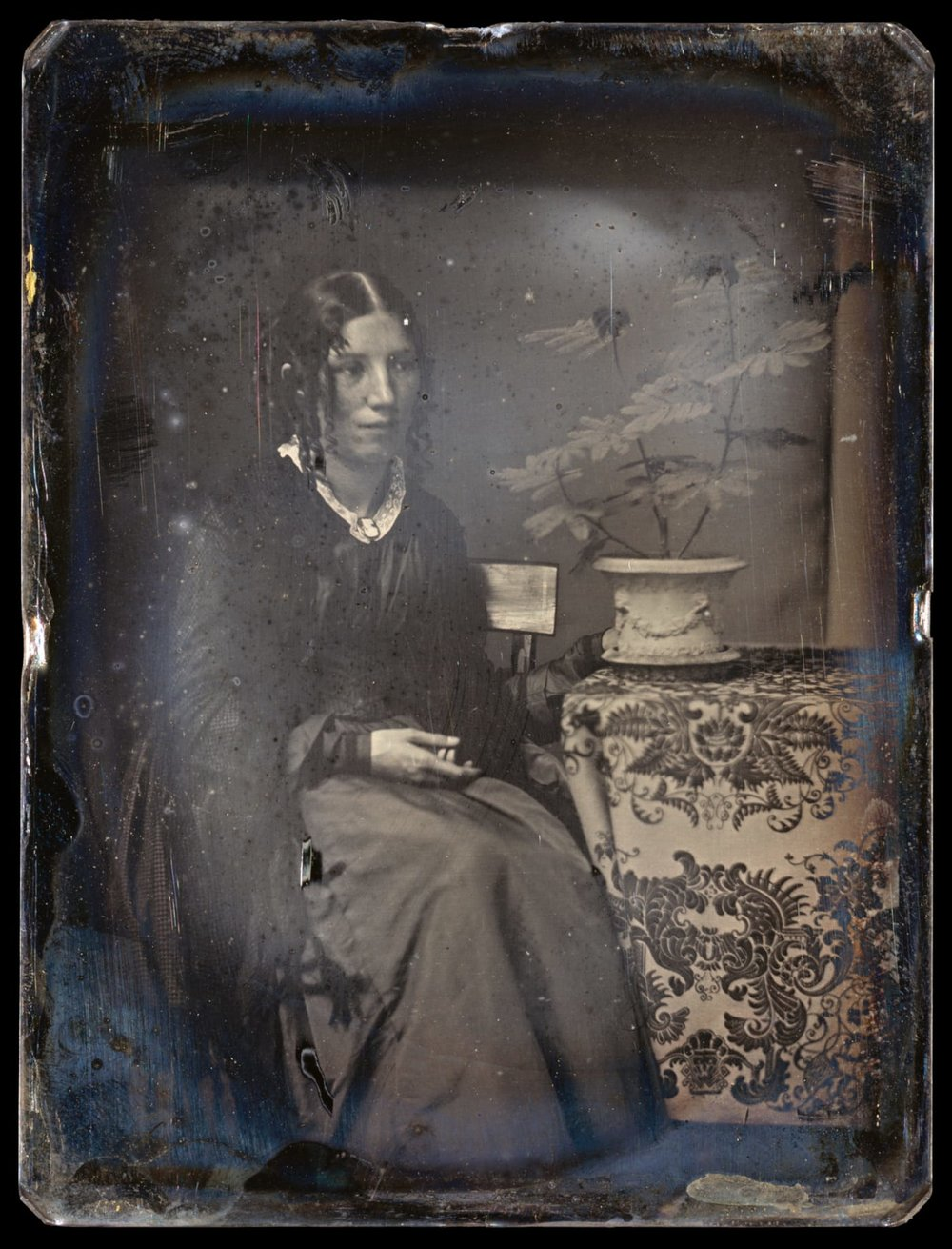 A daguerrotype of Harriet Beecher Stowe, circa 1850 (The Metropolitian Museum of Art).