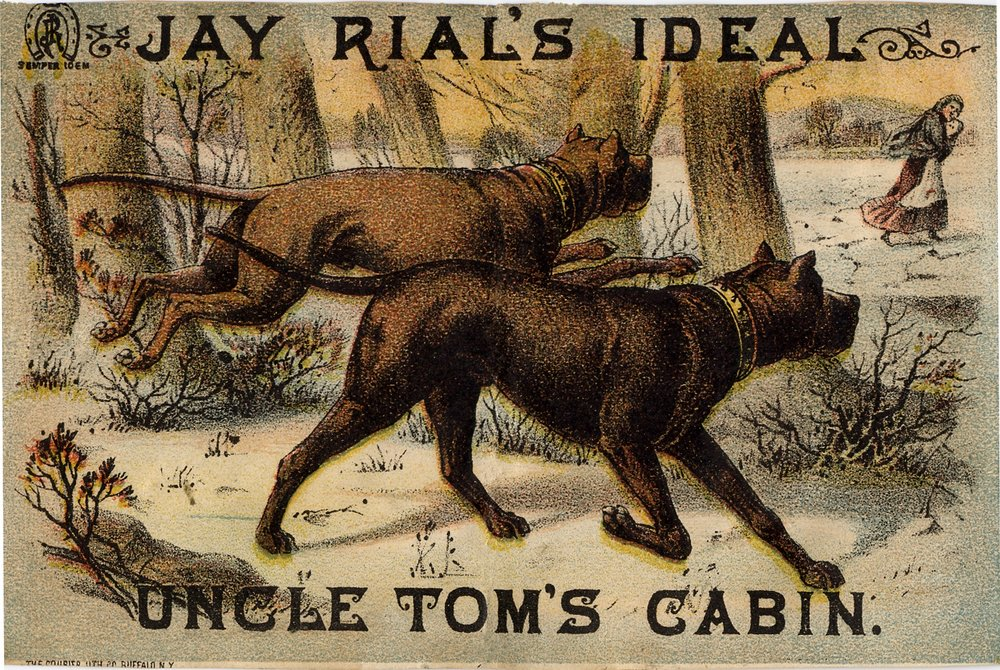 "Advertising card for Jay Rial's ""Ideal Uncle Tom's Cabin"" traveling show from around the 1880s. (Courtesy of the Harriet Beecher Stowe Center's presentation of  the National Era version )"